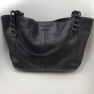 Chanel wooden chain shopper tote bag